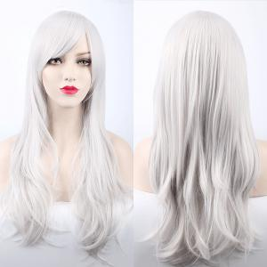Multicolor Long Side Bang Layered Tail Adduction Cosplay Lolita Synthetic Wig - Silver White
