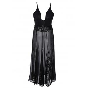 Lace Panel Sheer Maxi Slip Dress