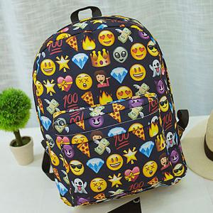 Emoji Print Nylon Backpack - Black - 40