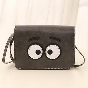 Stitching Cartoon Eyes Crossbody Bag - Gray