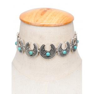 Vintage Moon Faux Turquoise Engraved Choker
