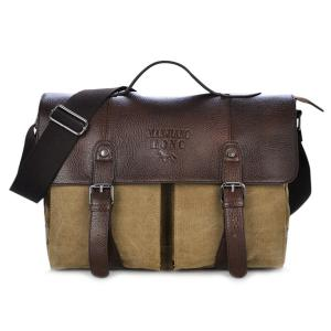 Double Buckle Canvas Snap Closure Messenger Bag - Khaki