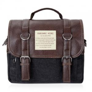 Double Buckle Snap Closure PU Leather Messenger Bag