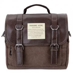 Double Buckle Snap Closure PU Leather Messenger Bag - Coffee