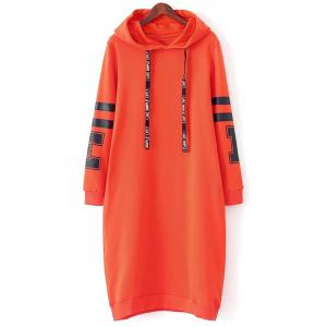 Casual Hooded Graphic Hoodie Dress - Orange Red - L