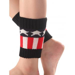 Warm Star Stripe Pattern Knit Boot Cuffs - Black - 4xl