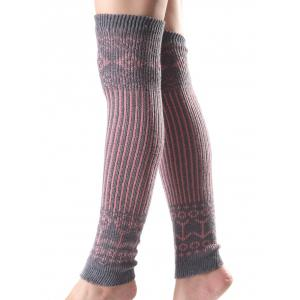 Warm Rhombus Vertical Stripe Knit Leg Warmers - Gray