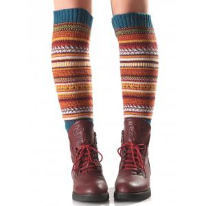 Warm Ethnic Multicolor Stripe Knit Leg Warmers