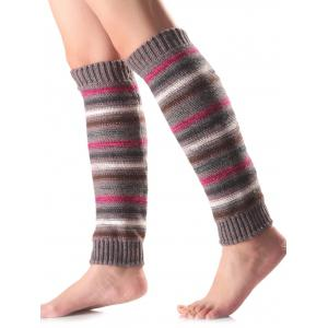 Warm Horizontal Stripe Knit Leg Warmers - Gray