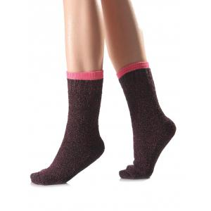 Warm Candy Edge Knit Socks - Rose Red - One Size(fit Size Xs To M)
