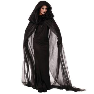Fancy Dress Cosplay Suit Witch Hooded Halloween Costume Supplies - Black - 2xl