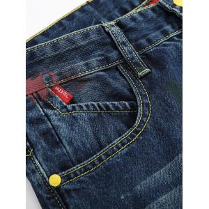 Zipper Fly Colorful Paint Design Distressed Jeans -