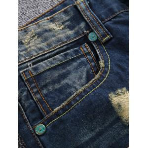 Zipper Fly Holes and Appliques Design Jeans -