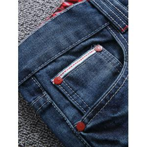 Zipper Fly Scratched Straight Leg Ripped Jeans -