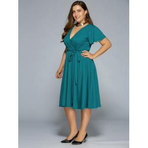 Low Cut A Line Plus Size Surplice Front Tie Swing Dress - GREEN 6XL