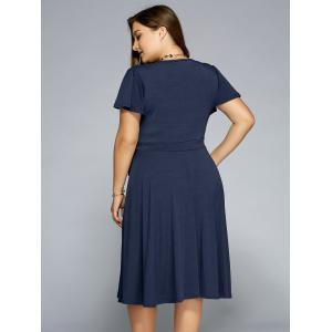 Low Cut A Line Plus Size Surplice Front Tie Swing Dress -