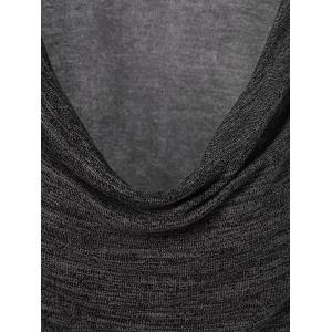 Side Button Cowl Neck Knitted Sweater - BLACK GREY XL