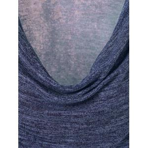 Side Button Cowl Neck Knitted Sweater - PURPLISH BLUE M