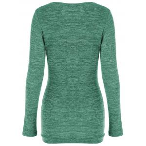 Side Button Cowl Neck Knitted Long Sleeve Sweater - JADE GREEN XL