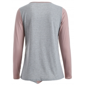 Color Block Buttoned T-Shirt - NUDE PINK XL