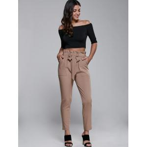 High Waisted Belted Slimming Narrow Feet Pants - KHAKI XL