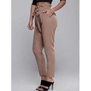 High Waisted Belted Slimming Narrow Feet Pants -