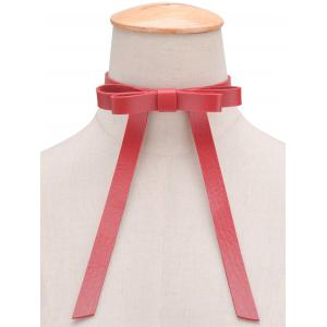 Vintage Faux Leather Bows Choker Necklace - RED