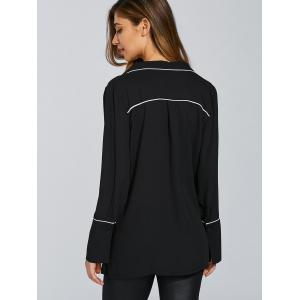Plunging Neck Long Sleeve Loose Color Block Blouse -