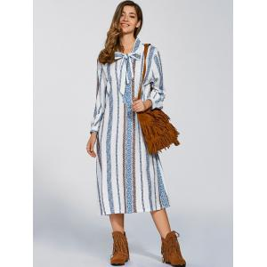 Long Sleeve Tie Striped Shift Dress -