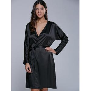 Long Sleeve Satin Wrap Dress With Pockets - BLACK S