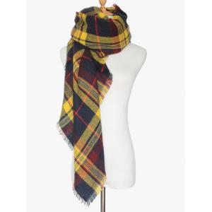 Winter Tartan Fringed Shawl Scarf -