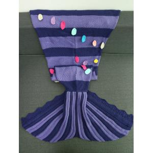 Colorful Patches Embellished Knitting Mermaid Tail Blanket -