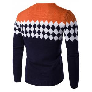 V-Neck Rhombus Pattern Color Block Sweater - ORANGE 2XL