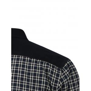 Tartan Splicing Design Turn-Down Collar Fleece Shirt -