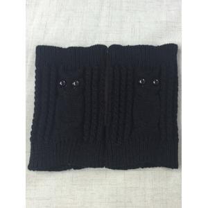 Warm Button Owl Crochet Knit Boot Cuffs - BLACK