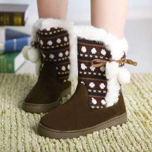 Stylish Knitting and Pompon Design Women's Snow Boots -