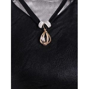 Faux Leather Voile Rhinestone Necklace Top -