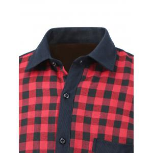 Checked Pocket Design Turn-Down Collar Fleece Shirt -