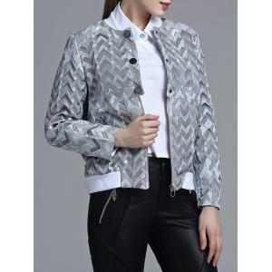Jacquard Geometric Zip-Up Jacket -