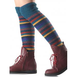 Warm Multicolor Stripe Knit Leg Warmers - TURQUOISE