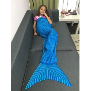 Warmth Geometric Design Knitted Kid's Mermaid Tail Blanket -