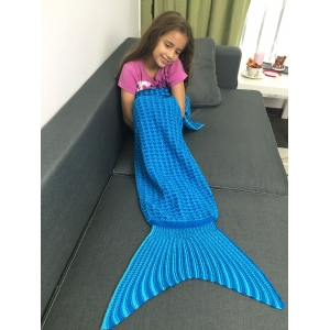 Warmth Geometric Design Knitted Kid's Mermaid Tail Blanket - BLUE