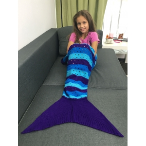 Acrylic Knitted Openwork Design Striped Mermaid Tail Blanket -