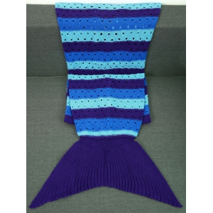 Acrylic Knitted Openwork Design Striped Mermaid Tail Blanket - BLUE