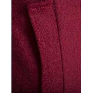 Slim-Fit Stand Collar Wool Blend Coat - WINE RED 3XL