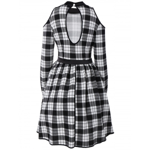 Stand Neck Cold Shoulder Cutout Checked Dress -