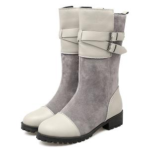 Suede Double Buckle Mid Calf Boots -