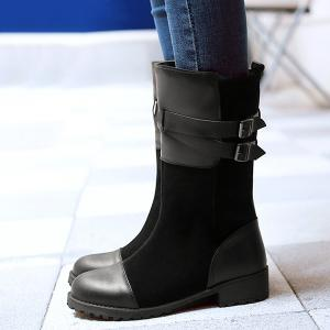 Suede Double Buckle Mid Calf Boots - BLACK 39