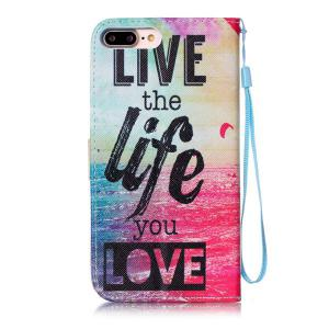 Letter Quote Sea PU Leather Phone Case For iPhone 7 Plus -