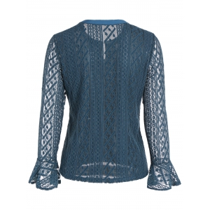 Keyhole Metal Button Embellished Lace Bell Sleeve Blouse -